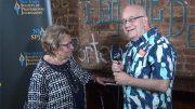 NJ-SPJ Secretary Steve Lubetkin interviews State Sen. Loretta Weinberg at the Journalism Awards Gala July 28 in New Brunswick, NJ