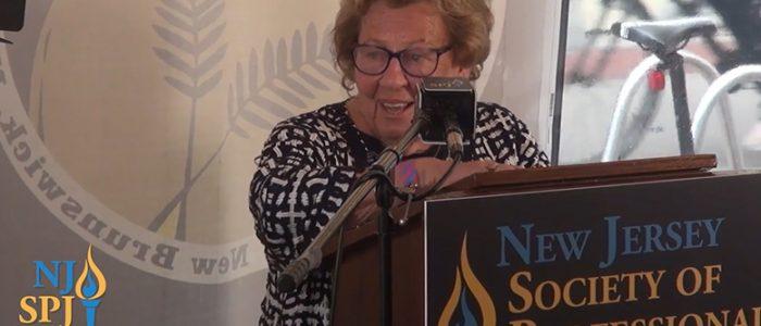 State Sen. Loretta Weinberg, recipient of a Lifetime Achievement Award, speaks at the NJ-SPJ Journalism Awards Gala in New Brunswick, July 28, 2021